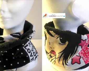 Collar lined Manga teddy fabric scarf