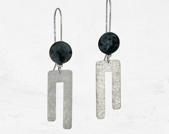Asymmetrical Drop Earrings | Modern Silver Earrings | TUNDRA Drop Earrings