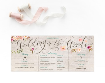 Itinerary Bachelorette Weekend Invitation - Rustic Floral Invites for a Wedding in the Woods - Weekend Getaway