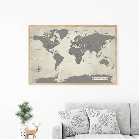 Sale grey world map push pin world travel map map art like this item gumiabroncs Image collections