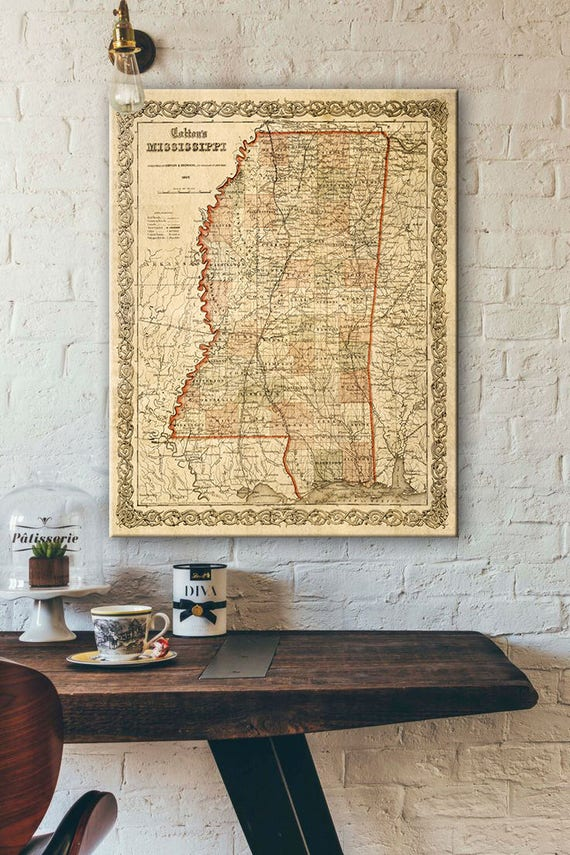 Map of Mississippi 1859 Map of MS Vintage Maps Restoration Hardware Style Mississippi map Wall Map decor new home housewarming gift map art