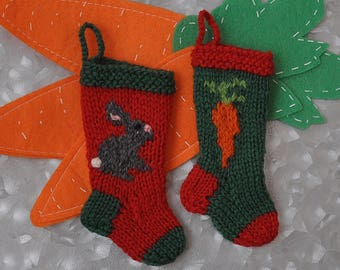 Grey Bunny & Carrot Hand-Knit Christmas Stocking Ornament  Beveren Rabbit  Chinchilla Rabbit