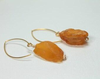 Fire Opal Earrings in Gold,  Bright Orange Earrings, October Birthstone Earrings , Raw Opal Earrings, Rough Opal Earrings