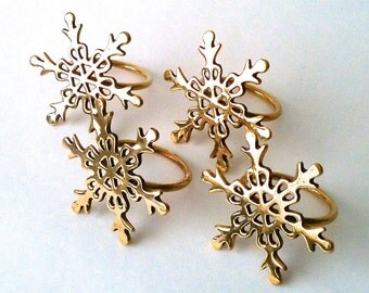 Vintage Set of 4 Brass Snowflake Napkin Rings Napkin Holders