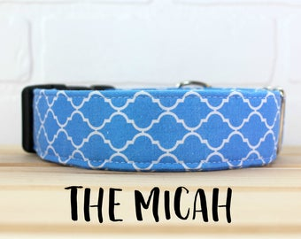 Dog Collar in Blue for Girl/Boy Dog. Can be made in Buckle or Martingale Collar. PLEASE READ Item Details before ordering