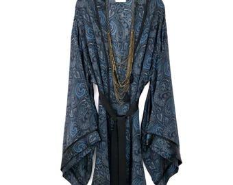 Silk kimono robe, silk kimono jacket, silk kimono, silk robes, kimono robe, kimono robes, full length kimono, blue silk kimono, silk robe,