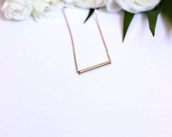 Necklace tube long gold filled