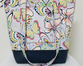 Tote Bag with Butterflies, Weekend Tote Bag, Travel Bag with Butterflies, Tote Bag with Pockets, Washable Tote Bag, Zipper Closure Tote Bag.