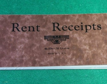 Vintage National Rent Receipts Book Made in USA  -Ephemera FREE SHIPPING