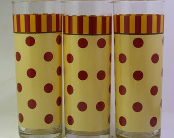 Set of (3)  Southern Living at Home Gail Pittman Polka Dot Sienna Glass Tumblers
