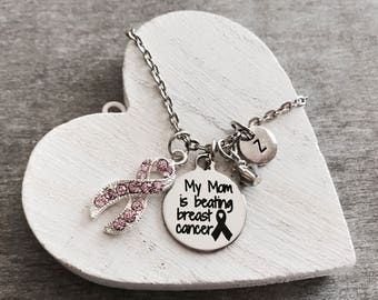Beating, breast cancer, Mom, Sister, Daughter, Friend, Fighter, Survivor, Pink Ribbon, Awareness Ribbon, Silver Necklace, Charm necklace