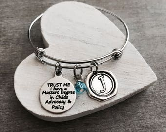 Customized, MBA, MSC, TRUST me I have a Masters Degree, Graduation, Grad, Gifts, College degree, Student, Silver Bracelet, Charm Bracelet