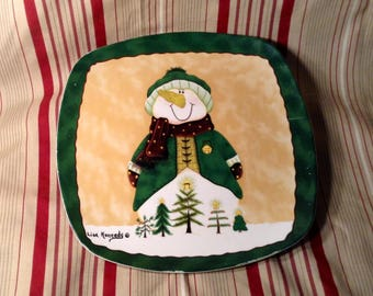 Large, Square Christmas Plate - Bundled Up Snowman, Winter Scenery - Dark Green & Maroon - Cookie or Dessert Tray - 11 by 11 Inches