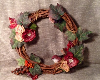 Handmade Spring Wreath - Stick Wreath, Pink & Red Maroon Flowers - Bird, Berries, and Ivy - Country Home, Farm House Outdoor Decor