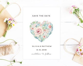 Cactus Heart Save The Date, Watercolor Painted Wedding