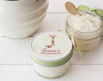 Set of 12- 4 oz- Sugar Scrub Favors - All-Natural, Vegan - Monogram Bridal Shower Favor | Monogram Label | Floral Monogram Favor