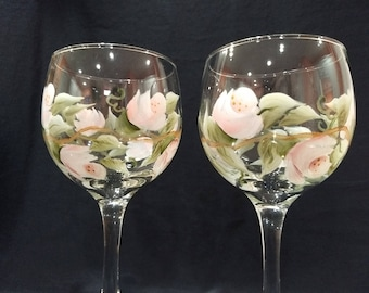 Hand Painted Roses Wine Glasses, Set of 2