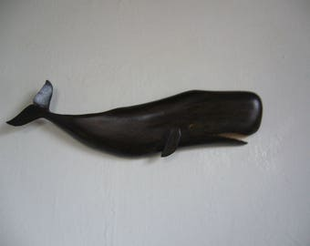 Whale carved in oak wood