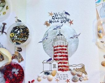 Custom Lighthouse, Lighthouse Art, West Quoddy Head Light, Nautical