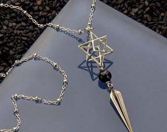 Sterling Silver Sacred Geometry Necklace, Merkaba Necklace, 3D Geometric Necklace