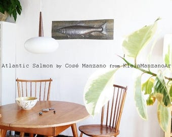 Altlantic Salmon, Metal sculpture, Wall, Fish relief, Animal sculpture, Metal wall sculpture, Metal art, Home, Office, Aluminum