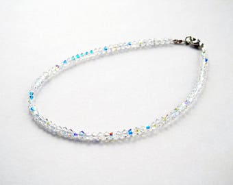Dainty Swarovski Crystal Bracelet - Tiny Bead Bracelet - Crystal Bead Bracelet - Single Strand - Crystal AB - Girls - Plus - Wedding Jewelry