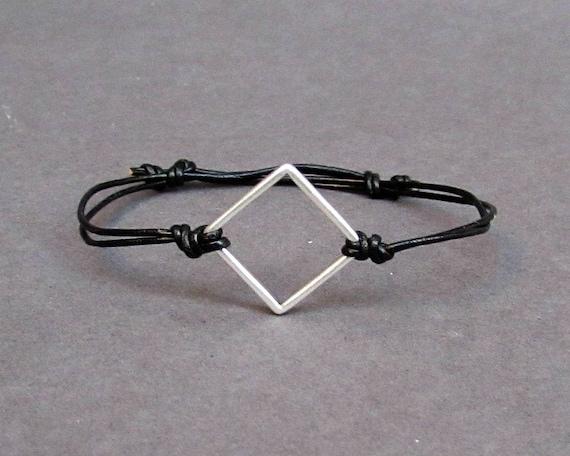 Geometric Bracelet,Minimalist Leather Bracelet, Charm Bracelet, Adjustable Bracelet, Unisex Bracelet