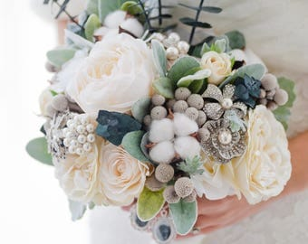 Custom Winter Wedding Bouquet, Silk Flower Bouquet, Brooch Bouquet, Artificial Bridal Bouquet, Artificial Flower Bouquet, Dried Flowers