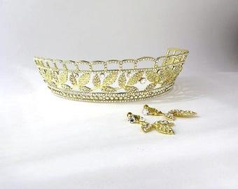 Golden Swarobski Leaf Tiara and Earrings Set, Gold tiara,  Gold dangle earrings, Wedding tiara, Floral tiara, Pagent crown earrings set