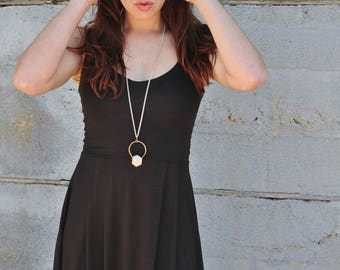 Little Black Dress, V Scoop Dress, Short pleated Dress, Baby Modal Dress, Spaghetti Strap dress