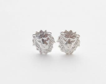 Leo Earrings, Leo Gifts, Lion Earrings, Lion Stud Earrings, Lion Jewelry, Tiny Lion Earrings, Silver Lion Stud Earring, Gift for her