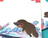 Cute Notepad with a platypus for your notes by Neophobica, Stationery