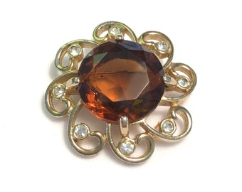 VINTAGE - BROOCH - AMBER Colored Glass