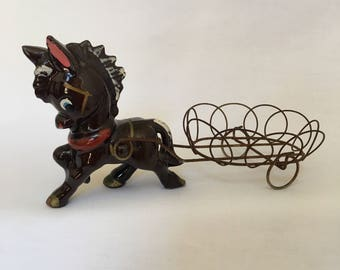 Vintage Ceramic Donkey  and wire cart