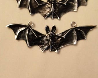 Silver Vampire Halloween Bat Charms 2 pieces