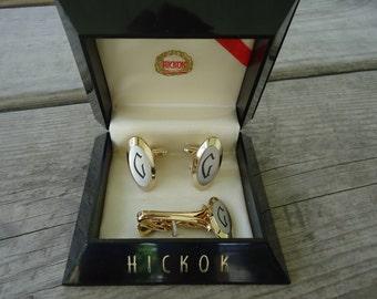 """Hickok Letter """"G"""" Cufflink Set"""