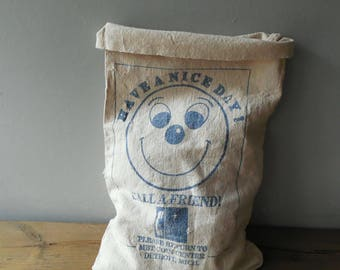 Bell Telephone Canvas Coin Bag ~ Vintage Smiley Face Graphic Money Sack Gift Bag  /0506