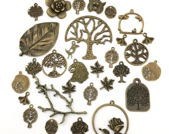BULK 30 charms forest theme mix,bronze tone # CH 500