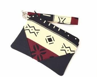 Tribal clutch wristlet, wristlet clutch, african purse, wristlet, zip clutch wallet, zip clutch, clutch purse, evening bag, for women