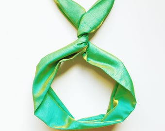 Green and Gold Irridescent Wire Headband