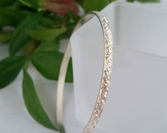 Sterling Silver Bangle, Patterned Bangle, Vintage Style Bangle, Silver Bracelet, Eco Friendly Silver Bangle. Recycled Silver, Gift For Her