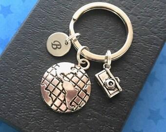 World travel gift - Personalised globe keyring - Travel keyring - Globe keychain - Travel keyring - Stocking filler - Secret Santa - UK