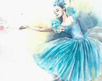 """Original watercolor painting ballerina dancer ballet home decor nurse room decor wall decor 11x14"""""""