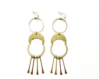 Galatea Goddess Earrings with Brass Crescents