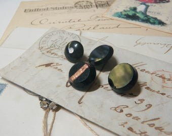 4 Very Old Swirl Back Black Glass Buttons 1850s