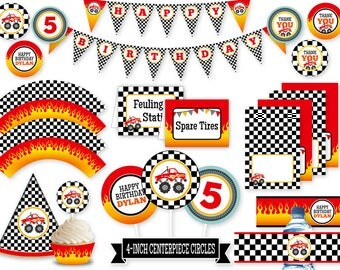 Monster Truck Party Printables | Printable Birthday Package | Personalized Monster Truck Birthday Bundle | BR006PP