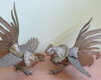 2 Antique Brass Fighting Roosters Cock Fighting Sculptures