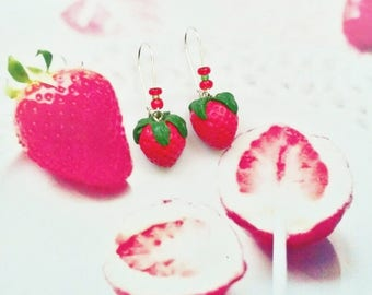 earrings strawberry polymer clay