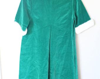 vintage emerald green velvet cream fur trim a line mini dress *