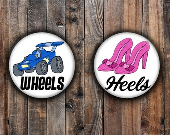 Wheels or Heels Gender reveal pins. Pink heel and blue car.